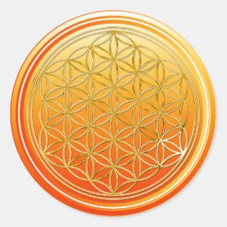 Flower Of Life / Blume des Lebens - GOLD orange Classic Round Sticker