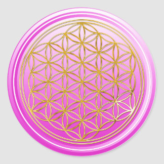 Flower Of Life / Blume des Lebens - GOLD pink Classic Round Sticker