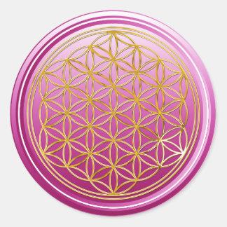 Flower Of Life / Blume des Lebens - GOLD plum Classic Round Sticker