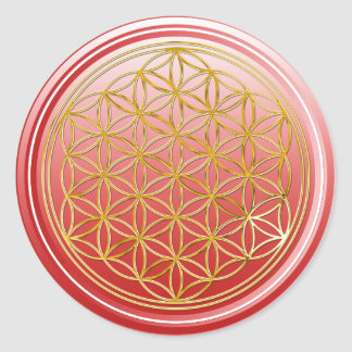 Flower Of Life / Blume des Lebens - GOLD red Classic Round Sticker