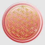 Flower Of Life / Blume des Lebens - GOLD red Classic Round Sticker