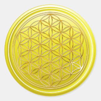 Flower Of Life / Blume des Lebens - GOLD yellow Classic Round Sticker