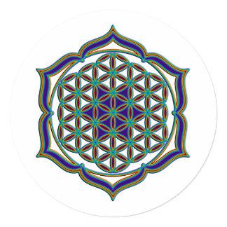 Flower Of Life / Blume des Lebens - Lotus Contour 5.25x5.25 Square Paper Invitation Card