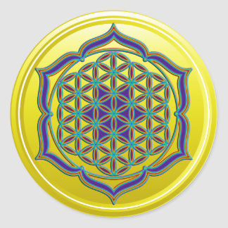 Flower Of Life / Blume des Lebens - Lotus Contour Classic Round Sticker