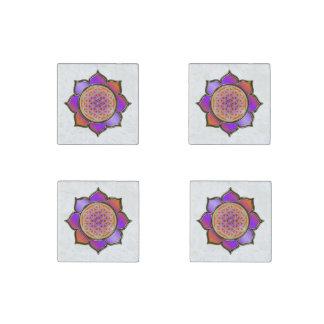 Flower of Life / Blume des Lebens - Lotus violet Stone Magnet