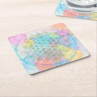Flower Of Life / Blume des Lebens - love hearts Square Paper Coaster