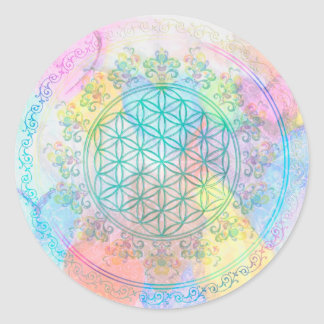 Flower of Life / Blume des Lebens - Love Hearts Classic Round Sticker