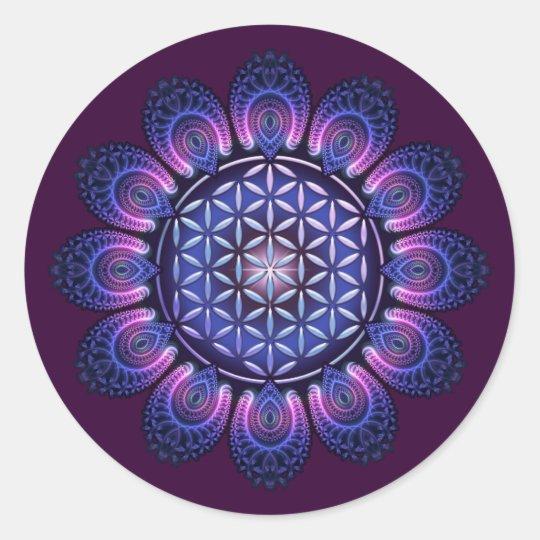 FLOWER OF LIFE / Blume des Lebens - Mandala II Classic Round Sticker