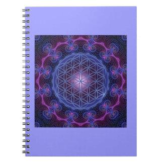 FLOWER OF LIFE/Blume des Lebens Mandala II Square Spiral Notebook