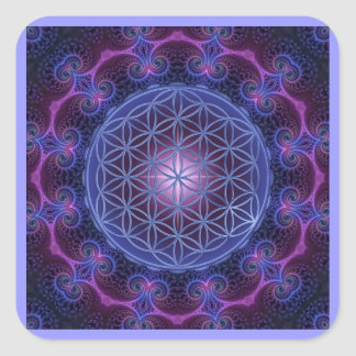FLOWER OF LIFE/Blume des Lebens Mandala II Square Square Sticker