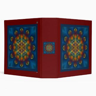 FLOWER OF LIFE/Blume des Lebens Mandala III Square 3 Ring Binder