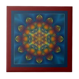 FLOWER OF LIFE/Blume des Lebens Mandala III Square Ceramic Tile