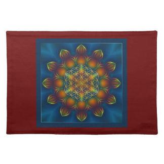 FLOWER OF LIFE/Blume des Lebens Mandala III Square Cloth Placemat