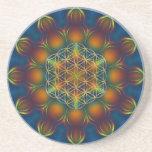 FLOWER OF LIFE/Blume des Lebens Mandala III Square Drink Coasters
