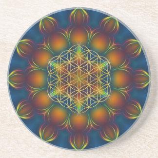 FLOWER OF LIFE/Blume des Lebens Mandala III Square Coaster