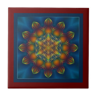 FLOWER OF LIFE/Blume des Lebens Mandala III Square Tiles