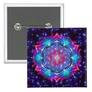 FLOWER OF LIFE/Blume des Lebens Mandala IV Square Pins