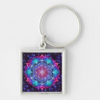 FLOWER OF LIFE/Blume des Lebens Mandala IV Square Keychain