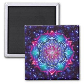 FLOWER OF LIFE/Blume des Lebens Mandala IV Square Magnet