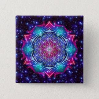 FLOWER OF LIFE/Blume des Lebens Mandala IV Square Pinback Button