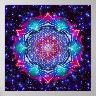 FLOWER OF LIFE/Blume des Lebens Mandala IV Square Print