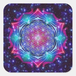 FLOWER OF LIFE/Blume des Lebens Mandala IV Square Stickers