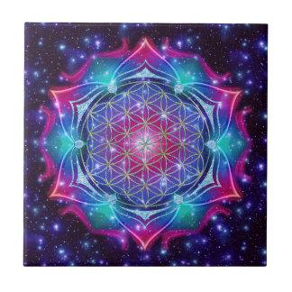 FLOWER OF LIFE/Blume des Lebens Mandala IV Square Tiles