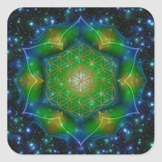 FLOWER OF LIFE/Blume des Lebens Mandala V Square Square Sticker