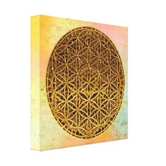 Flower Of Life / Blume des Lebens - medal gold Canvas Print