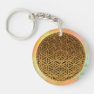 Flower Of Life / Blume des Lebens - medal gold Keychain