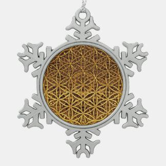 Flower Of Life / Blume des Lebens - medal gold Snowflake Pewter Christmas Ornament