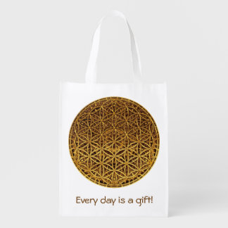 Flower Of Life / Blume des Lebens - medal gold Reusable Grocery Bags