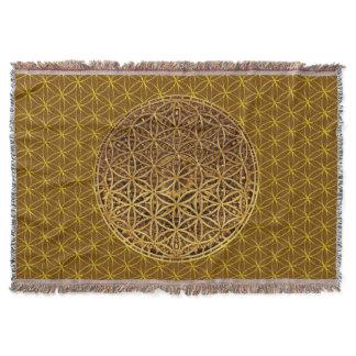 Flower Of Life / Blume des Lebens - medal gold Throw Blanket