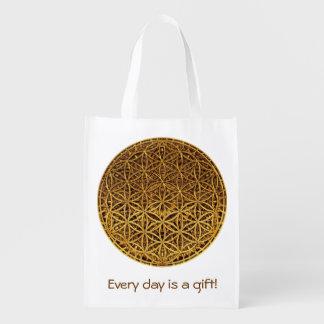Flower Of Life / Blume des Lebens - medal gold Reusable Grocery Bags