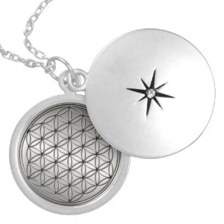 Flower of Life Blume des Lebens Metallic Silver Silver Plated Necklace