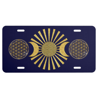 Flower Of Life / Blume des Lebens - MOON gold License Plate