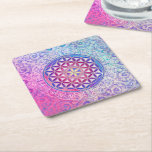 """Flower Of Life / Blume des Lebens - Ornament V Square Paper Coaster<br><div class=""""desc"""">Spirit Symbol Design by EDDA Fr&#246;hlich / EDDArt 