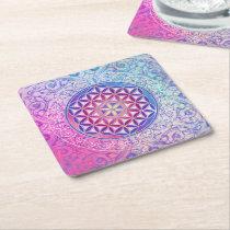 Flower Of Life / Blume des Lebens - Ornament V Square Paper Coaster