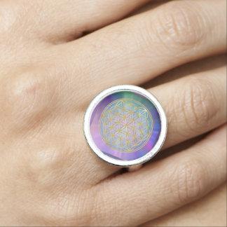 Flower Of Life / Blume des Lebens - pastel Photo Ring