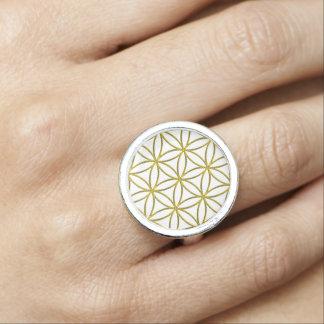 Flower of Life / Blume des Lebens - pattern gold Photo Ring