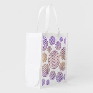 Flower of Life / Blume des Lebens - pattern violet Grocery Bags