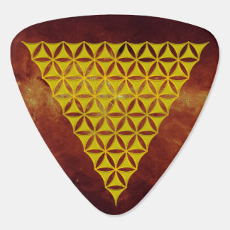 Flower Of Life / Blume des Lebens - pyramid gold Guitar Pick