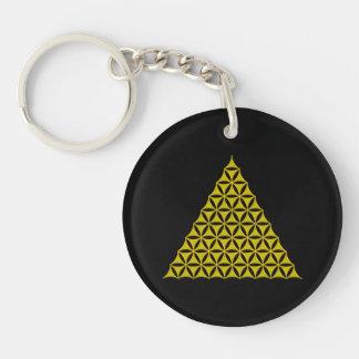 Flower Of Life / Blume des Lebens - pyramid gold Keychain
