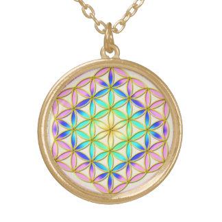 Flower of Life Blume des Lebens Romantic Colors 1 Gold Plated Necklace