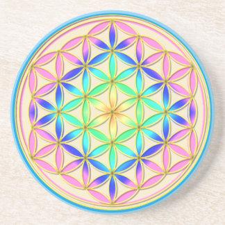 Flower of Life Blume des Lebens Romantic Colors Sandstone Coaster