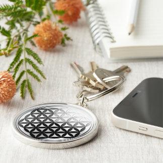 Flower of Life / Blume des Lebens Silver Black Keychain
