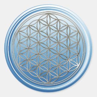 Flower Of Life / Blume des Lebens - SILVER blue Classic Round Sticker