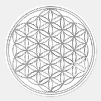 Flower Of Life / Blume des Lebens - silver Classic Round Sticker