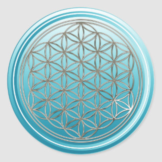 Flower Of Life / Blume des Lebens - SILVER cyan Classic Round Sticker