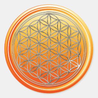 Flower Of Life / Blume des Lebens - SILVER orange Classic Round Sticker